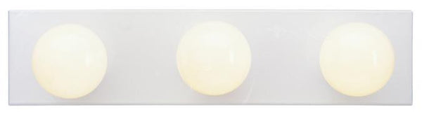 Three-Light Indoor Bath Bar, White Finish - Lighting Getz