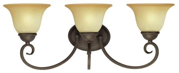 Three-Light Indoor Wall Fixture, Ebony Bronze Finish with Aged Alabaster Glass - Lighting Getz