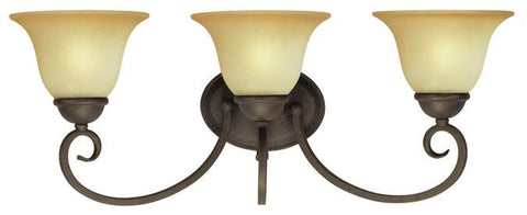 Three-Light Indoor Wall Fixture, Ebony Bronze Finish with Aged Alabaster Glass