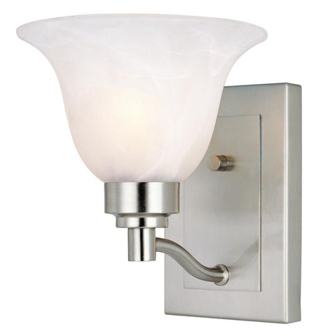 One-Light Indoor Wall Fixture, Brushed Nickel Finish with Frosted White Alabaster Glass