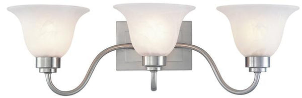 Three-Light Indoor Wall Fixture, Brushed Nickel Finish with Frosted White Alabaster Glass - Lighting Getz
