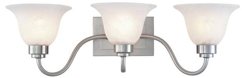 Three-Light Indoor Wall Fixture, Brushed Nickel Finish with Frosted White Alabaster Glass