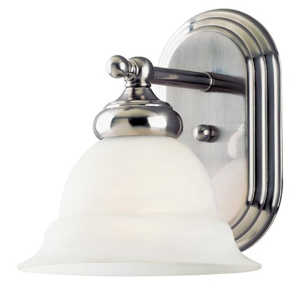 One-Light Indoor Wall Fixture, Brushed Nickel Finish with Frosted White Alabaster Glass - Lighting Getz