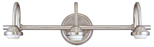 Three-Light Indoor Wall Fixture, Brushed Nickel Finish - Lighting Getz
