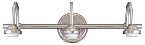 Three-Light Indoor Wall Fixture, Brushed Nickel Finish