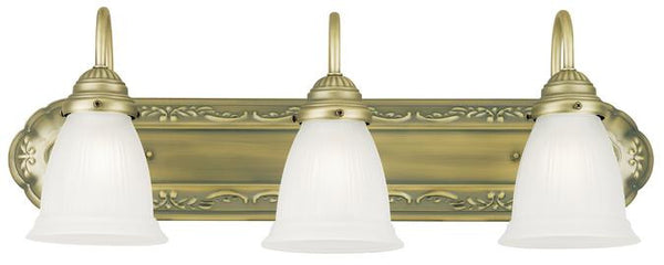 Three-Light Indoor Wall Fixture, Oyster Bronze Finish with Frosted Ribbed Glass - Lighting Getz