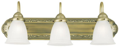 Three-Light Indoor Wall Fixture, Oyster Bronze Finish with Frosted Ribbed Glass