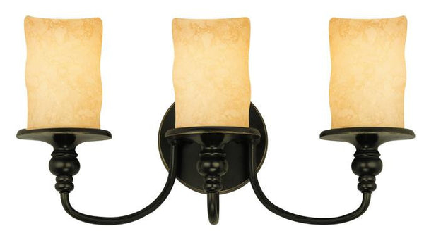 Three-Light Indoor Wall Fixture, Burnished Bronze Patina Finish with Burnt Scavo Glass - Lighting Getz