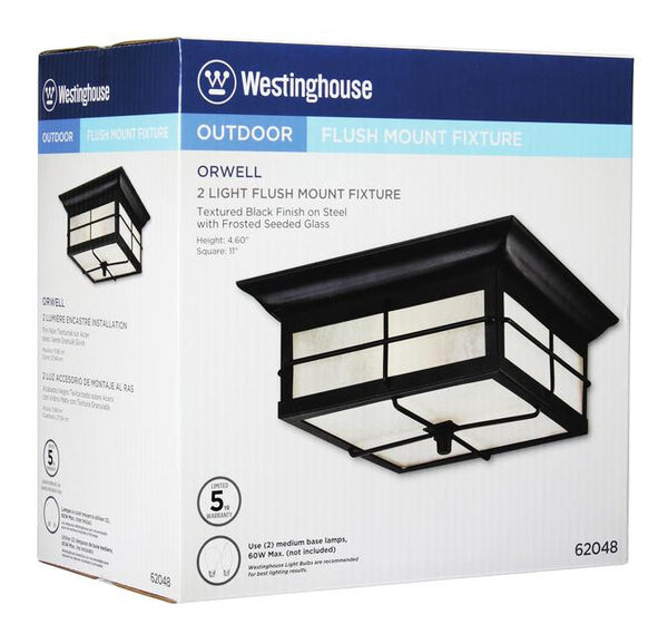 Orwell Two-Light Outdoor Flush Fixture, Textured Black Finish on Steel with Frosted Seeded Glass - Lighting Getz