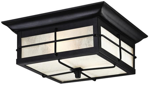 Orwell Two-Light Outdoor Flush Fixture, Textured Black Finish on Steel with Frosted Seeded Glass