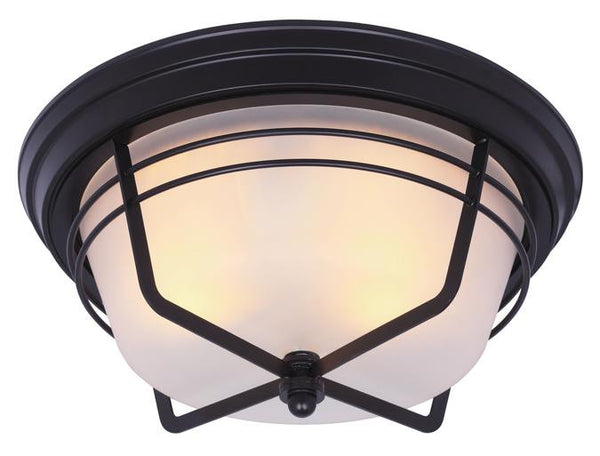 Bonneville Two-Light Outdoor Flush Fixture, Weathered Bronze Finish on Steel with Frosted Glass - Lighting Getz