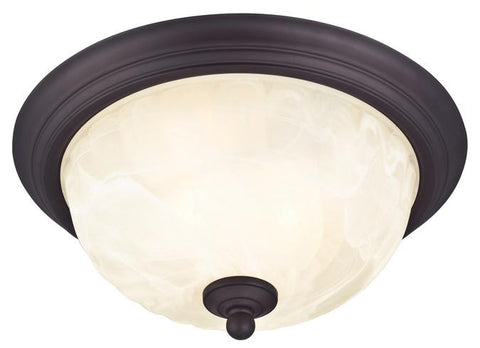 Naveen Two-Light Outdoor Flush-Mount Fixture, Oil Rubbed Bronze Finish on Steel with White Alabaster Glass