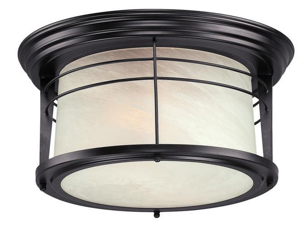 Senecaville Two-Light Outdoor Flush-Mount Fixture, Weathered Bronze Finish on Steel with White Alabaster Glass - Lighting Getz