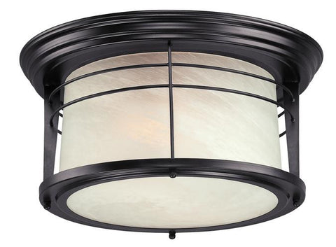 Senecaville Two-Light Outdoor Flush-Mount Fixture, Weathered Bronze Finish on Steel with White Alabaster Glass