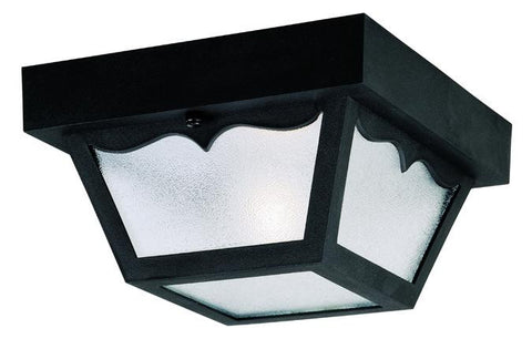 One-Light Flush-Mount Outdoor Fixture, Black Finish on Hi-Impact Polypropylene with Clear Textured Glass Panels
