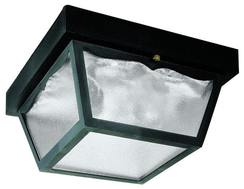 Two-Light Flush-Mount Outdoor Fixture, Black Finish on Hi-Impact Polypropylene with Clear Textured Glass Panels