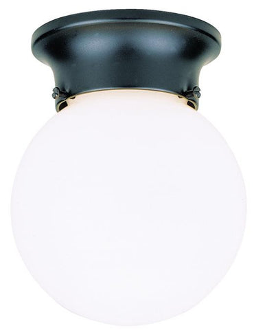 One-Light Flush-Mount Outdoor Fixture, Black Finish with White Glass Globe