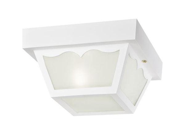 One-Light Flush-Mount Outdoor Fixture White Finish on Hi-Impact Polypropylene with Clear Textured Glass Panels - Lighting Getz