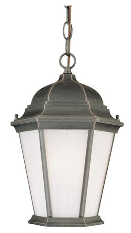 One-Light Outdoor Pendant, Rust Finish on Cast Aluminum with Frosted Seeded Glass Panels