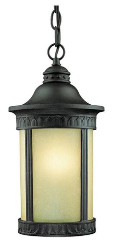 One-Light Outdoor Pendant, Textured Black Finish on Cast Aluminum with Amber Seeded Glass