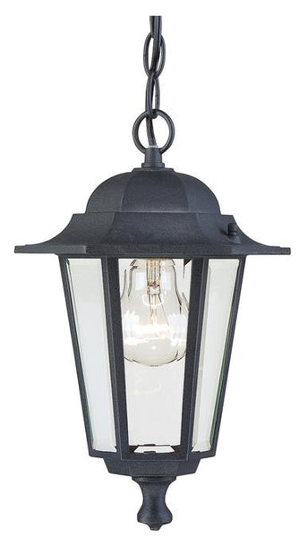One-Light Outdoor Pendant, Textured Black Finish on Cast Aluminum with Clear Glass Panels - Lighting Getz