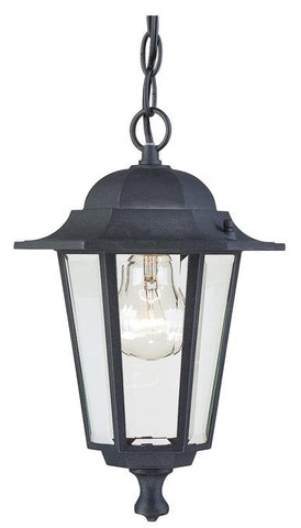 One-Light Outdoor Pendant, Textured Black Finish on Cast Aluminum with Clear Glass Panels