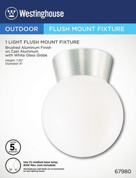 One-Light Flush-Mount Outdoor Fixture, Brushed Aluminum Finish on Cast Aluminum with White Glass Globe - Lighting Getz