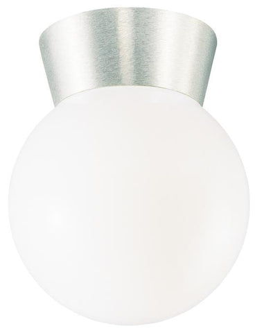One-Light Flush-Mount Outdoor Fixture, Brushed Aluminum Finish on Cast Aluminum with White Glass Globe