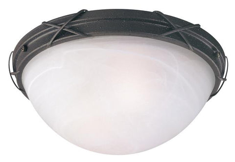 Claremont Two-Light Outdoor Flush Fixture, Textured Rust Patina Finish with White Alabaster Glass