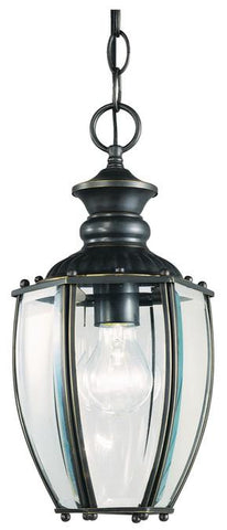 One-Light Dual-Mount Outdoor Pendant, Weathered Bronze Finish with Clear Curved Beveled Glass Panels