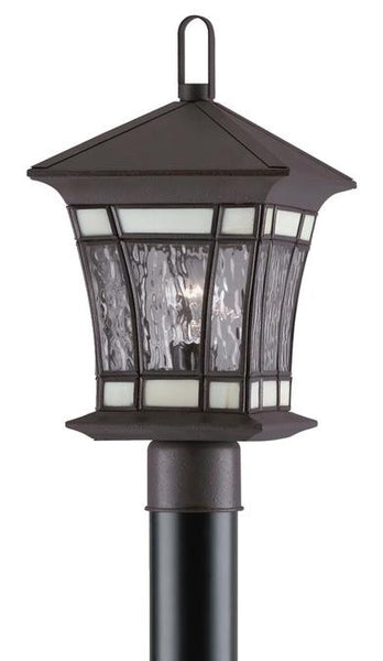 One-Light Post-Top Outdoor Lantern, Textured Rust Patina Finish on Solid Brass and Steel with Water Glass and Tiffany Accents - Lighting Getz