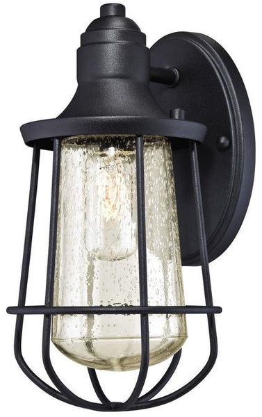 Elias One-Light Outdoor Wall Lantern, Textured Black Finish on Steel with Clear Seeded Glass - Lighting Getz