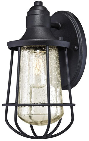 Elias One-Light Outdoor Wall Lantern, Textured Black Finish on Steel with Clear Seeded Glass