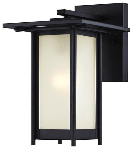 Clarissa One-Light Outdoor Wall Lantern, Textured Black Finish on Steel with Frosted Glass