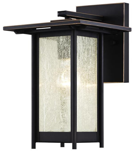Clarissa One-Light Outdoor Wall Lantern, Oil Rubbed Bronze Finish with Highlights on Steel and Clear Seeded Glass