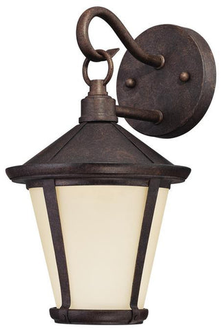 Darcy LED Outdoor Wall Lantern, Victorian Bronze Finish on Steel with Amber Frosted Glass