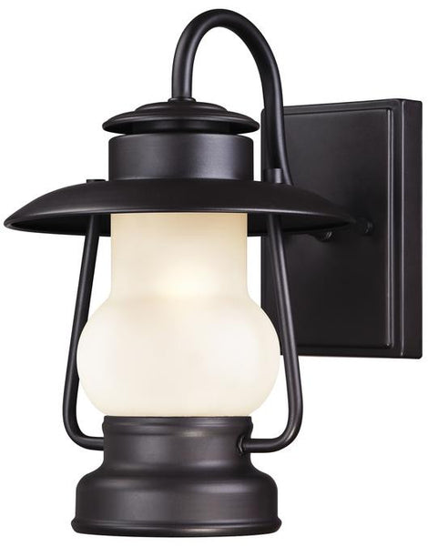 Santa Fe One-Light Outdoor Wall Lantern, Weathered Bronze Finish on Steel with Frosted Glass - Lighting Getz
