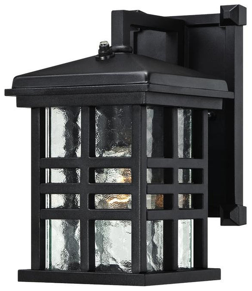 Caliste One-Light Outdoor Wall Lantern with Dusk to Dawn Sensor, Textured Black Finish on Aluminum with Clear Water Glass - Lighting Getz