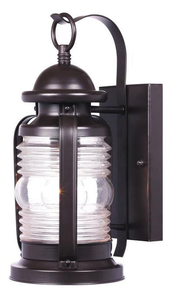 Weatherby One-Light Outdoor Wall Lantern, Weathered Bronze Finish on Steel with Clear Glass - Lighting Getz