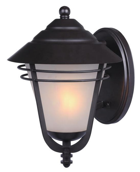 Bonneville One-Light Outdoor Wall Lantern, Weathered Bronze Finish on Steel with Frosted Glass - Lighting Getz