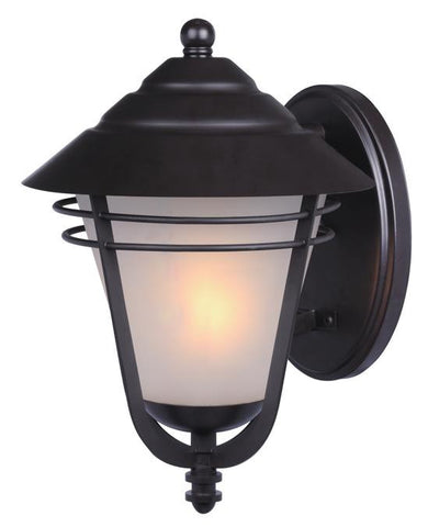 Bonneville One-Light Outdoor Wall Lantern, Weathered Bronze Finish on Steel with Frosted Glass