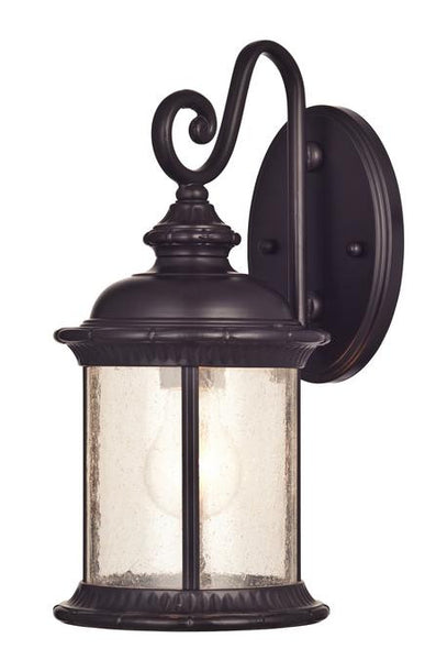 New Haven One-Light Outdoor Wall Lantern, Oil Rubbed Bronze Finish on Steel with Clear Seeded Glass - Lighting Getz