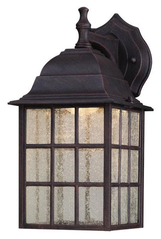 LED Outdoor Wall Lantern, Weathered Patina Finish on Cast Aluminum with Seeded Glass Panels