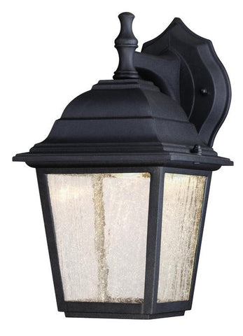 LED Outdoor Wall Lantern, Black Finish on Cast Aluminum with Seeded Glass Panels