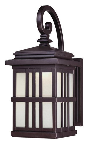 LED Outdoor Wall Lantern, Oil Rubbed Bronze Finish on Cast Aluminum with Frosted Glass
