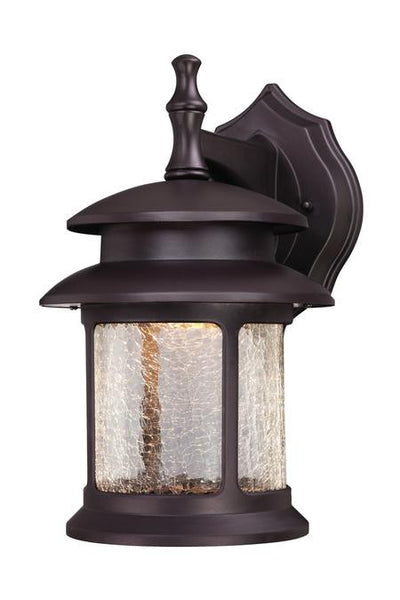 LED Outdoor Wall Lantern, Oil Rubbed Bronze Finish on Cast Aluminum with Crackle Glass - Lighting Getz