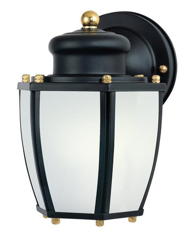 One-Light Outdoor Wall Lantern with Dusk to Dawn Sensor, Matte Black Finish on Steel with Frosted Curved Glass