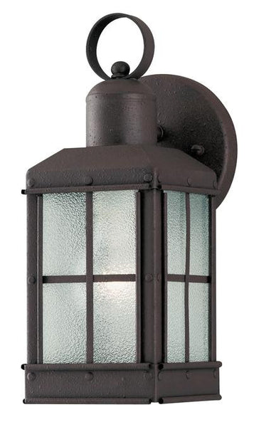 One-Light Outdoor Wall Lantern, Textured Rust Patina Finish on Steel with Ice Glass Panels - Lighting Getz