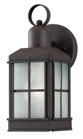One-Light Outdoor Wall Lantern, Textured Rust Patina Finish on Steel with Ice Glass Panels