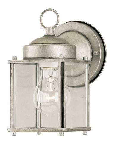One-Light Outdoor Wall Lantern, Antique Silver Finish on Steel with Clear Glass Panels